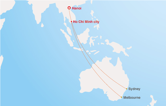 Vietnam Airlines Australia Map
